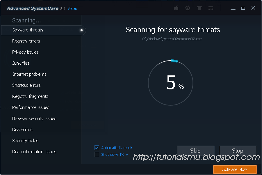 Scan proces Advanced SystemCare 8.1 Free Terbaru