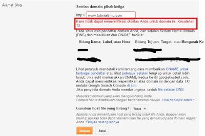 Custom Blogspot Domain Kesalahan Error